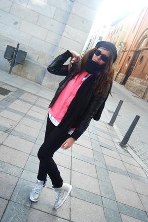silver nike shoes - pink adidas jacket