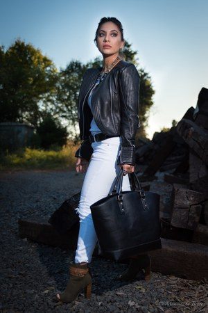 black leather modern jacket - olive green shoes - black tote bag