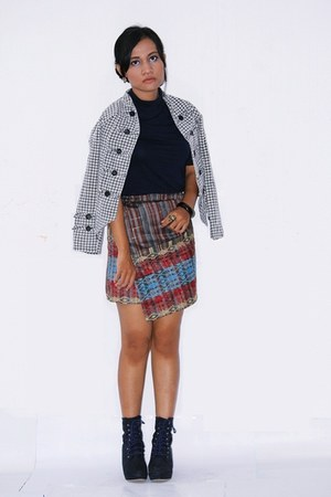 songket wrap skirt skirt - suede navy wedges boots boots