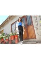 blue shirt - Converse shoes - black pants