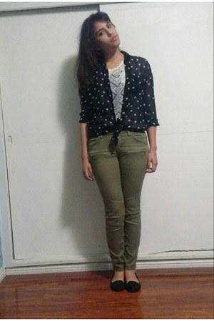 black shirt - olive green H pants