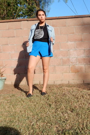 blue skort Forever 21 skirt - black thrifted shirt