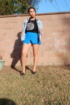 blue skort Forever 21 skirt - black thrifted shirt