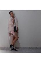 white shirt - pink blazer - black shorts - pink belt