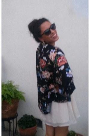 ivory white hm dress dress - blue blazer - kimono cardigan