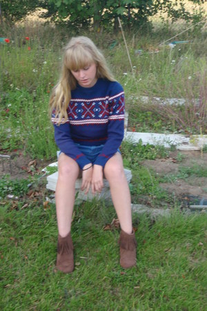 dark brown boots - blue Topshop shorts - navy Pop jumper