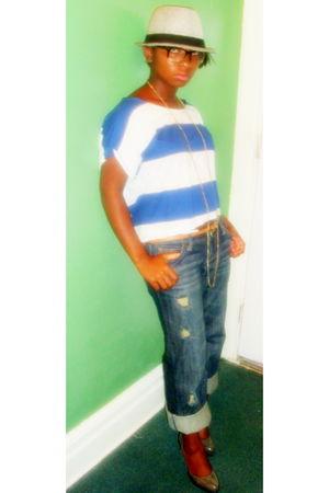 gray H&M shoes - blue JC Penny jeans - H&M shirt