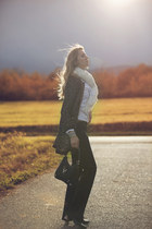 black Gucci bag - carlo pazolini shoes - Chanel jacket - Miss Sixty shirt