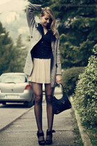 heather gray armani coat - black Gucci bag - black asos sandals