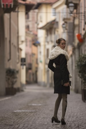 black coat - silver tights