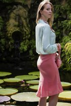 peach Piero Guidi bag - aquamarine Zara blouse - salmon Pinko skirt