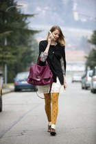 brick red zanellato bag - black cape - mustard Calzedonia stockings