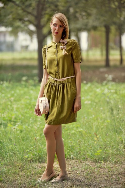 green Burberry dress - light pink office london shoes - light pink Fiorucci bag