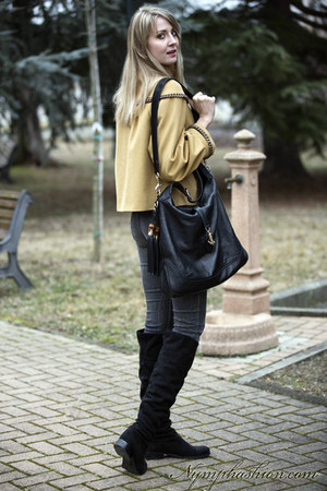 gold frankie morello coat - black pennyblack boots - black gucci bag