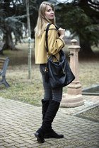 gold frankie morello coat - black pennyblack boots - black gucci bag