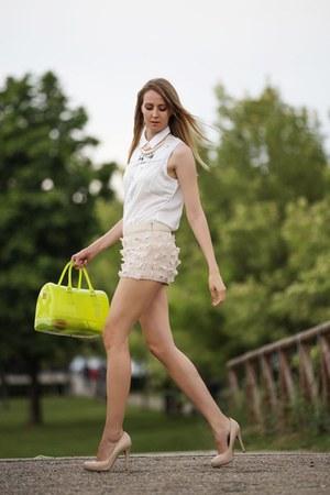 chartreuse Furla bag - Coccinelle shoes - ivory Motivi shirt