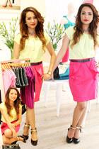 neon pink elle skirt - neon green elle top - elle heels