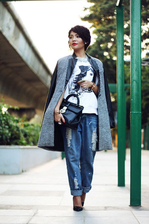 Zara t-shirt - PERSUNMALL coat - Zara heels