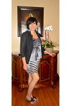 black linen black Forever 21 blazer - white dress