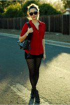 black Aldo boots - black romwe bag - black bullhead black shorts - red Bebe top