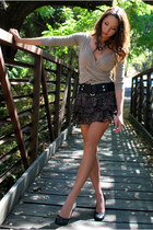 beige group usa top - puce Target skirt - black moms belt - black Aldo heels