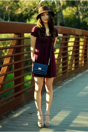 maroon Forever 21 dress - deep purple Aldo purse - beige Steve Madden heels