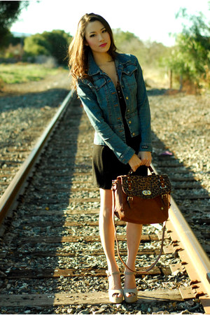 brown Aldo bag - black Forever 21 dress - XOXO jacket - beige Steve Ma heels