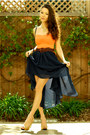 Navy-sheinside-skirt-orange-arden-b-top-gold-lylif-bracelet