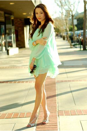 silver Guess heels - aquamarine Queens Wardrobe dress