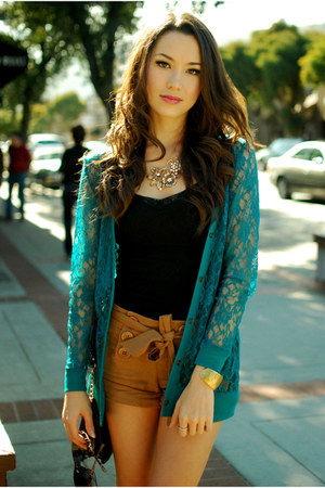 mustard Forever 21 shorts - teal Forever 21 cardigan