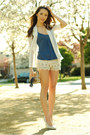 Cream-shopakira-shorts-periwinkle-abercrombie-and-fitch-top