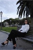 white Zara shirt - black D&G pants - black Zara sandals