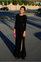 black Michael Kors dress - bubble gum Zara bag - bubble gum H&M accessories