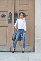 new look blouse - new look jeans - vintage hat - Ebay bag - new look heels