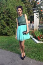 black vintage purse - aquamarine custom made dress - black Local store heels