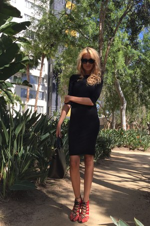 black dress - black H&M bag - Ebay sunglasses - red Zara heels