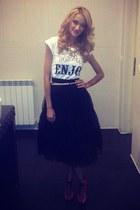 custom made skirt - Zara heels - Local store t-shirt