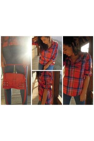 red meli melo purse - blue skinny random brand jeans - Vero Moda shirt