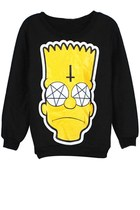 Black Cartoon Fleece Sweatshirt