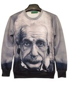 Lifelike Albert Einstein Print Sweatshirt