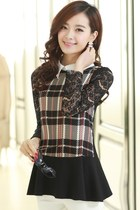 OASAP 2014 Plaid Lace Sleeve Blouse