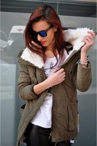 Parka Coat With Big Shearling Collar