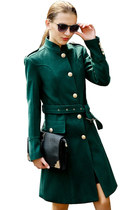 Glamorous Solid Belt Metal Button Wool Trench Coat