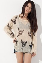 Semi Sheer Butterfly Print Distressed Sweater