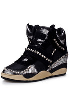 Women Black Snakeskin Lace-Up Beaded Wedge Sneakers