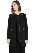 Chic Long-Sleeved Single-Breasted Solid Black Coat