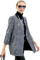 Women Deep Heather Grey 3/4-Sleeved Wool Coat