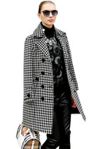 Houndstooth Women Long Sleeves Double-Breasted Lapel Wool Coat
