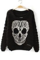 Personalized Stitching Skull Cutout Sweater