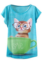 Kitten In The Cup Print Loose Tee